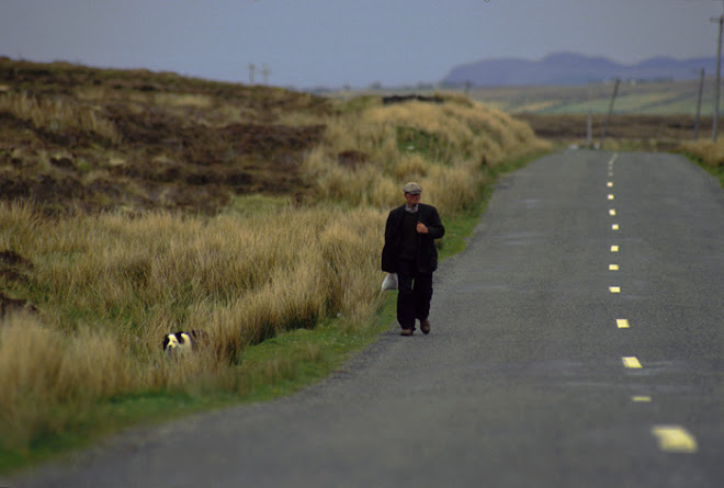 IRELAND_ Man walking Dog