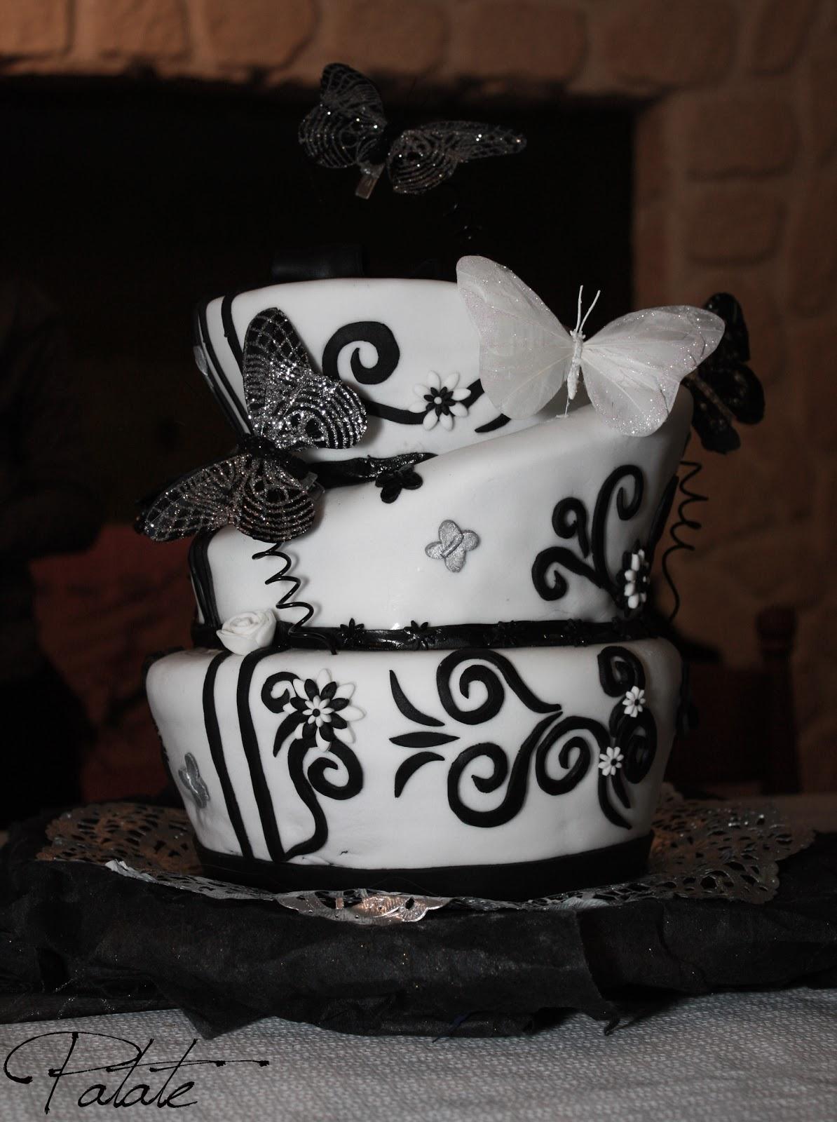 g teau de mariage noir et blanc cr ations cake design par olivia resch. Black Bedroom Furniture Sets. Home Design Ideas