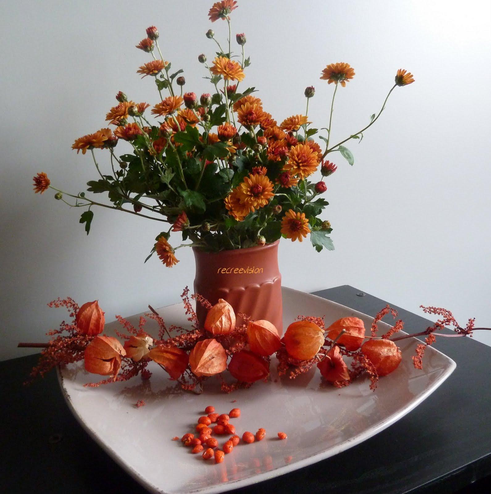 recreevision composition florale fleurs d 39 automne. Black Bedroom Furniture Sets. Home Design Ideas