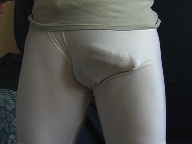 White lycra running tight bulges