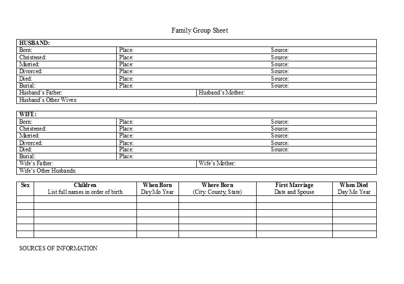 family group record template - printable pedigree chart keeper chart for horses family
