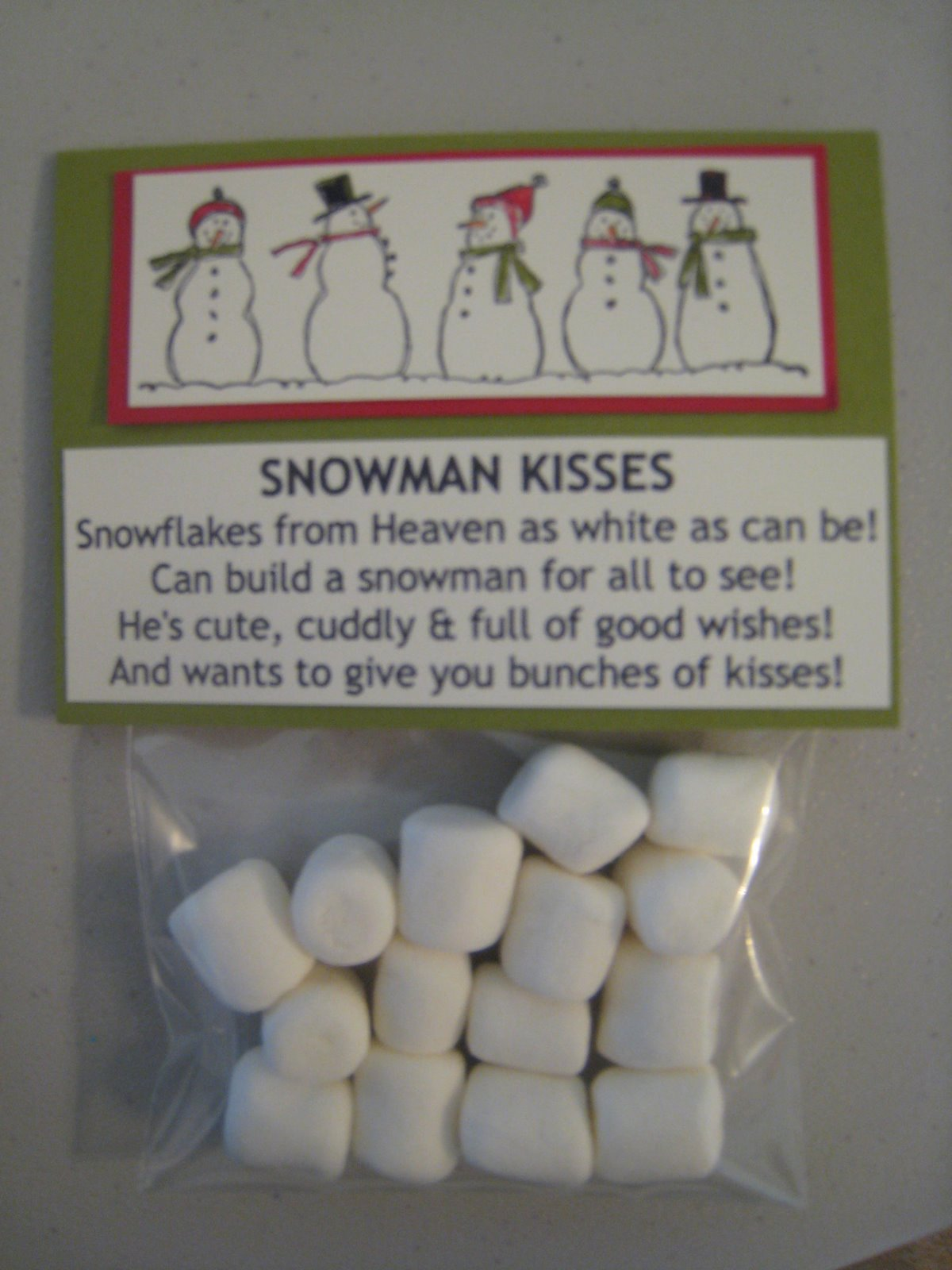 Snowman Poop and Kisses: $1.50 each...colors may vary