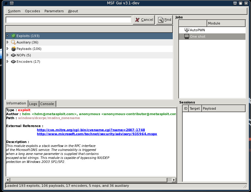 Laramies Corner: Metasploit GUI & Assistant
