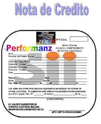 PERFORMANZ FORMATO DE NOTA DE CREDITO - formato nota de credito