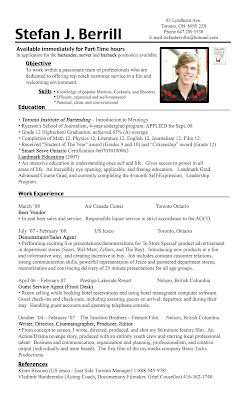 bartending resume templates with no experience pictures to