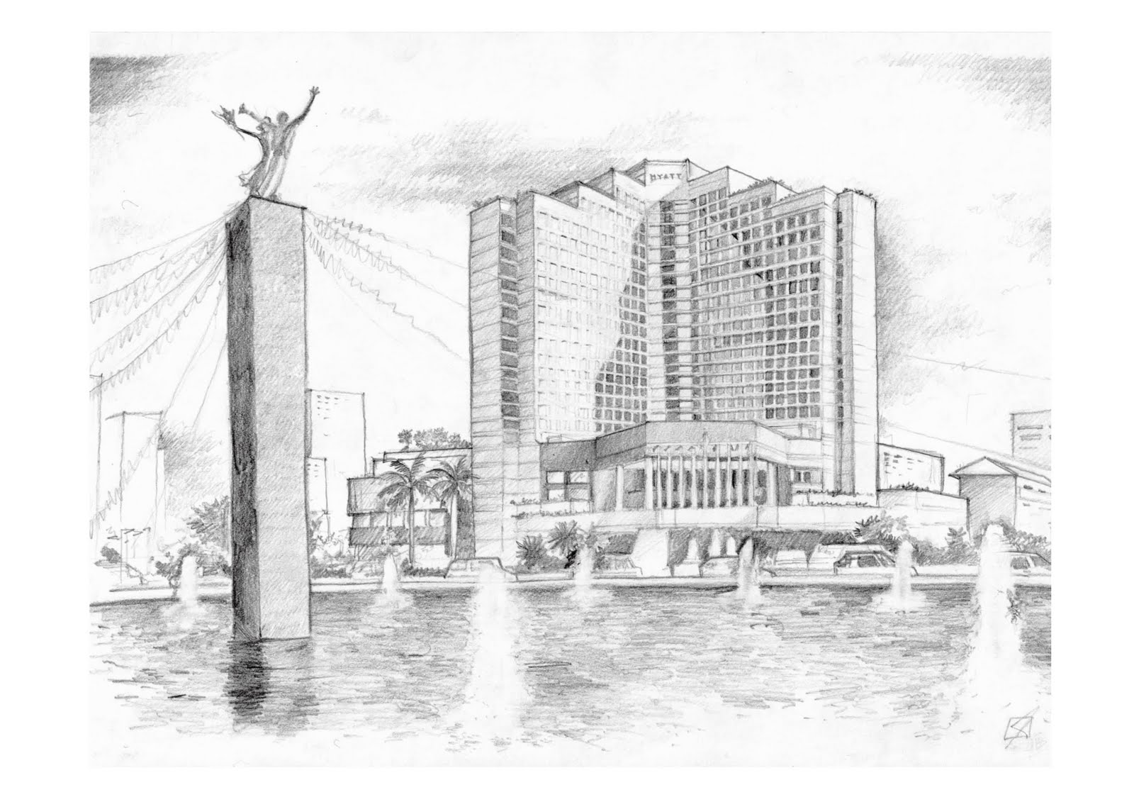 Kumpulan Gambar Sketsa Bangunan Patung
