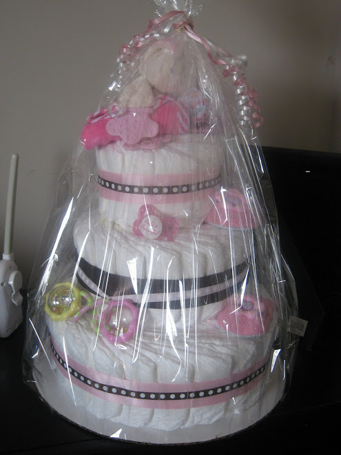Baby Girl 3 Tier Diaper Cake w/ baby items