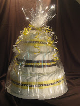 Yellow and Brown 3 Tier Diaper Cake