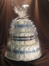 Blue and Brown 3 Tier Diaper Cake