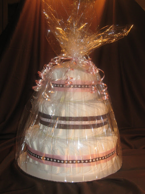 Pink and Brown 3 Tier Diaper Cake