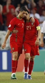 Nuno Gomes celebrates his goal with Cristiano Ronaldo during their Euro 2008 quarter-final soccer match against Germany