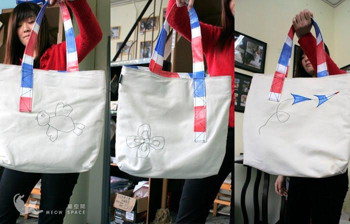 Frankie Handmade: 2007~2009 絕版紅白藍貓貓車線帆布袋