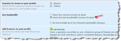low bandwidth orkut dialup