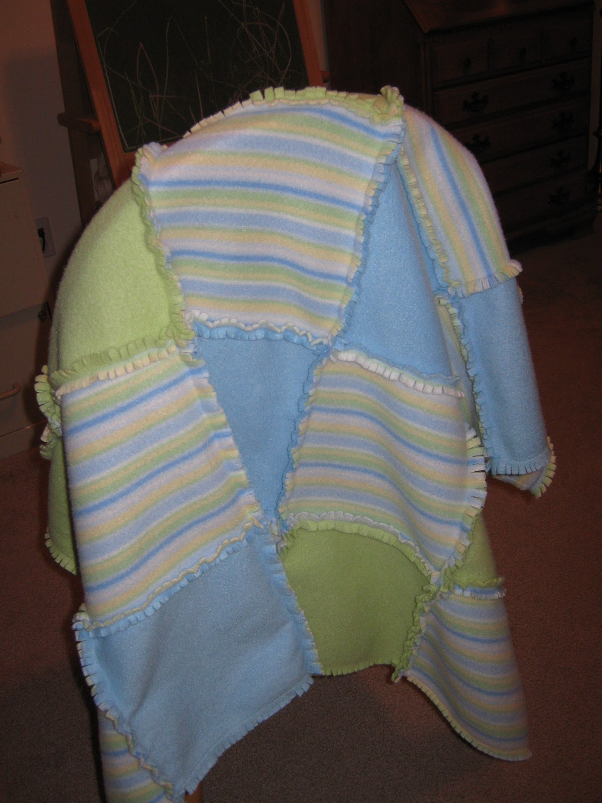 Look What I Made Fringed Fleece Baby Blanket