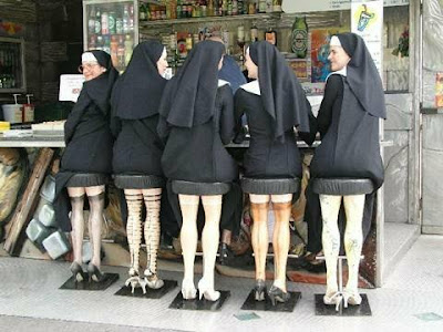 5 Nuns sat up at the bar and were enjoying their Cokes