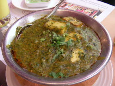 This is yummy but I don't like paneer *cheese* Cheese with spinach.
