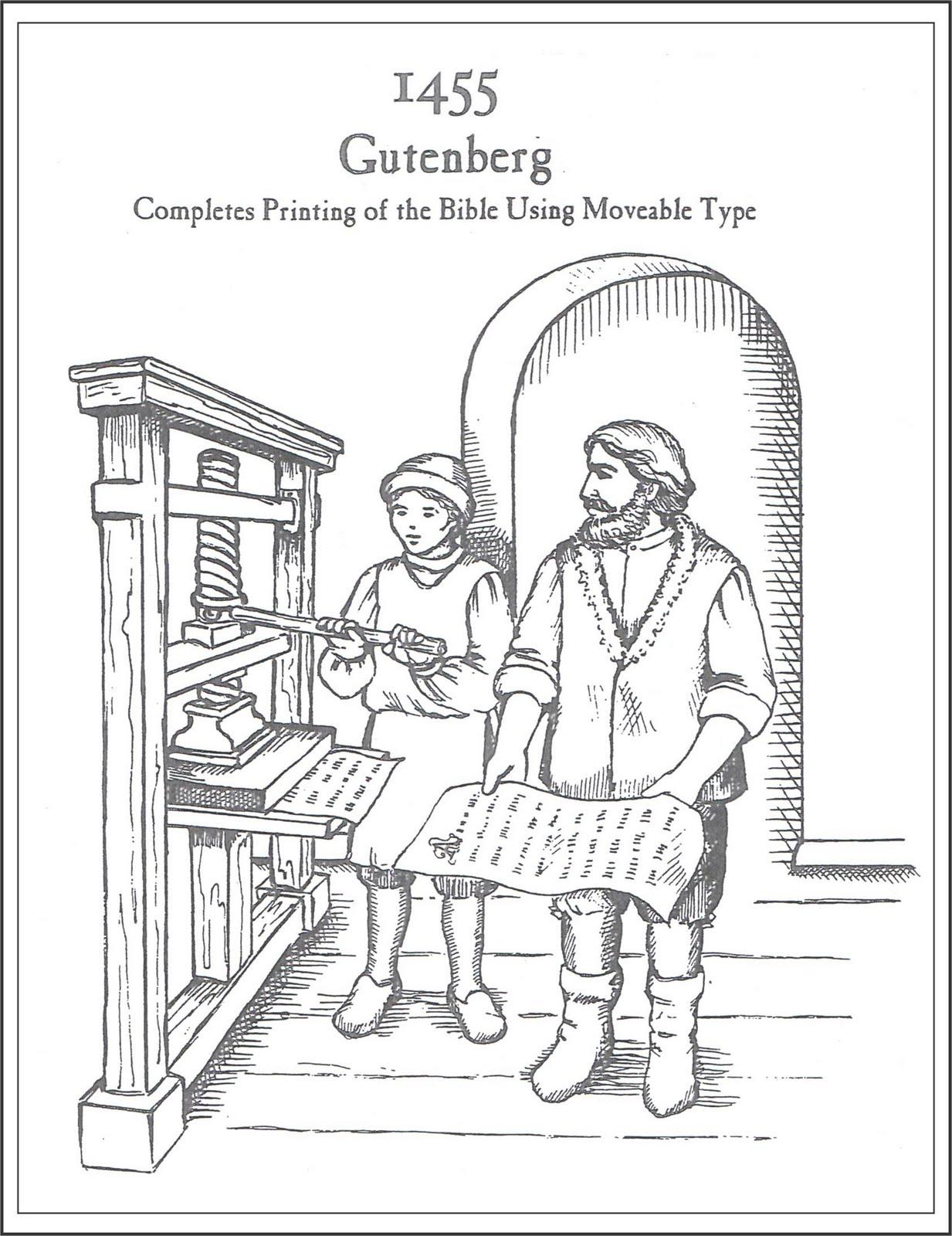 Coloring Page Gutenberg Printing Press