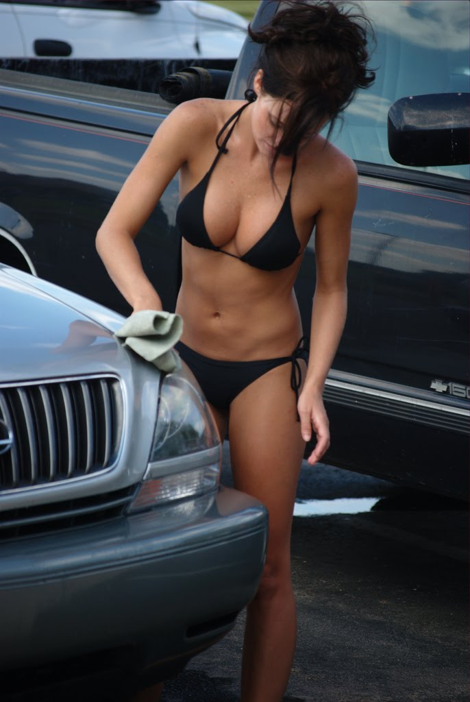Amateur washing car in a bikini ebony cameltoe