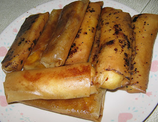 Fried Plantain in Eggroll Wraps