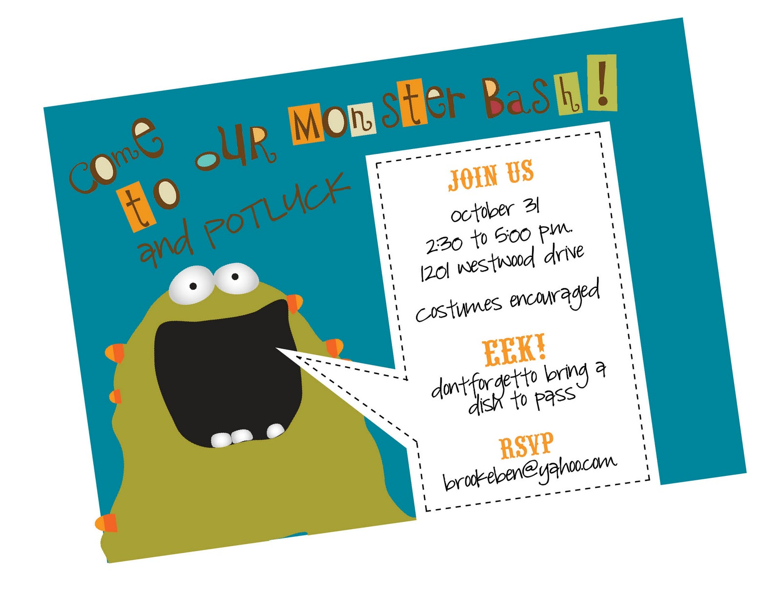 2bsquared designs monsterlicious free kids halloween invitation