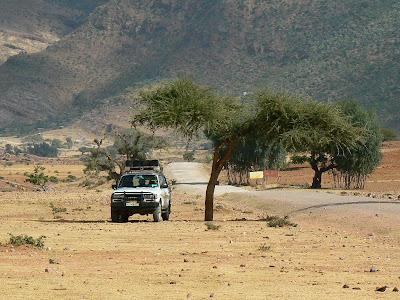 Imagini Etiopia: jeep in Africa sub un acacia tree