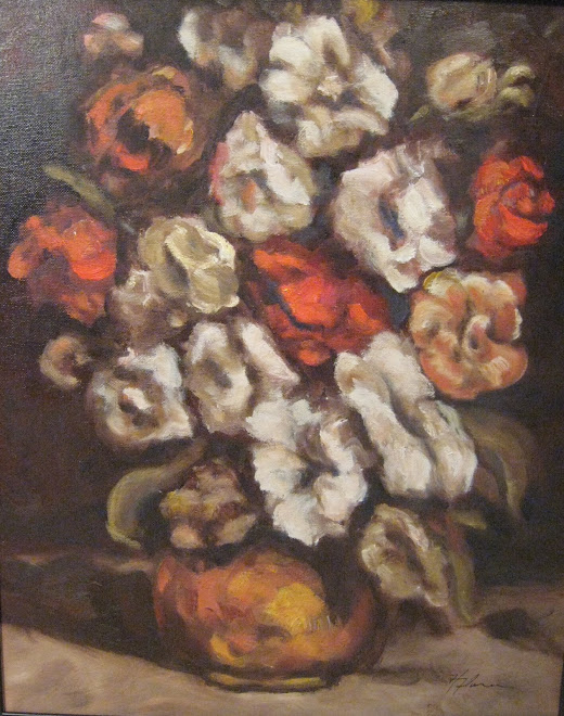 Courbet Study - Hollyhocks in a Copper Bowl