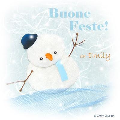 Illustrazione a collage di un pupazzo di neve per cartolina di auguri natalizi