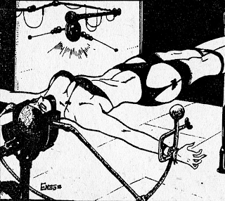 Drawing of woman in bondage apparatus