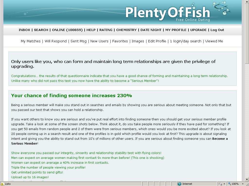 plenty of fish chemistry test