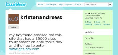 """f454f006d0db9c Nel secondo tentativo, tale Kristen Andrews di Miami, con ben 1000 contatti  su Twitter, scrive: """"Il mio ragazzo mi ha segnalato via email questo sito  dove è ..."""