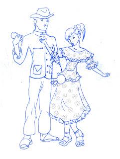 En el llano hay gran variedad de trajes, como por ejemplo el del hombre blanco de hato, que es vestido entero en terciopelo café, bordado con canutillos,