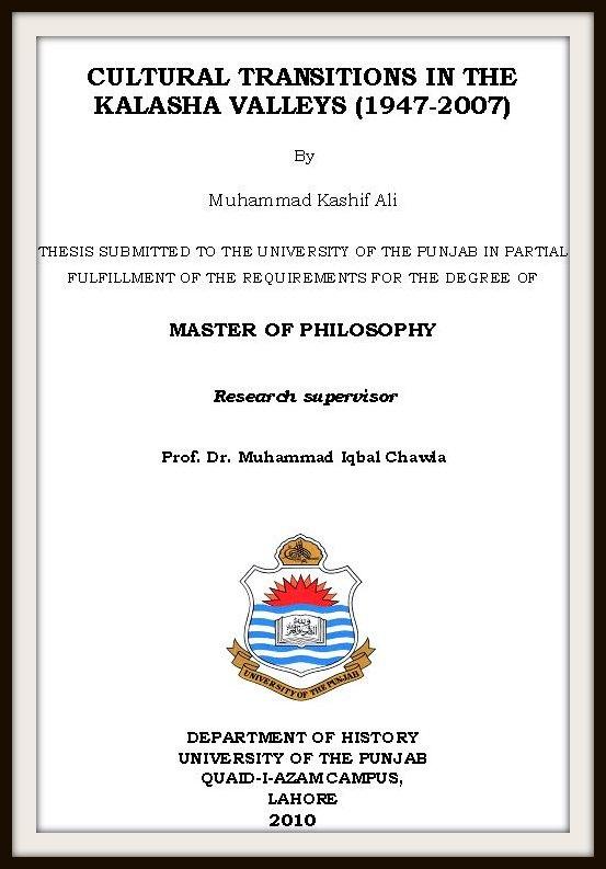Psf Downloads Pakistan Science Foundation Kalasha The Sole Pagan Tribe Of Pakistan Mphil Thesis