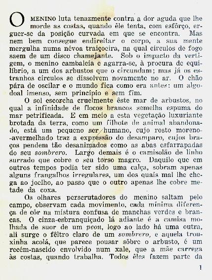 """primeira página do """"pablo, o índio"""""""