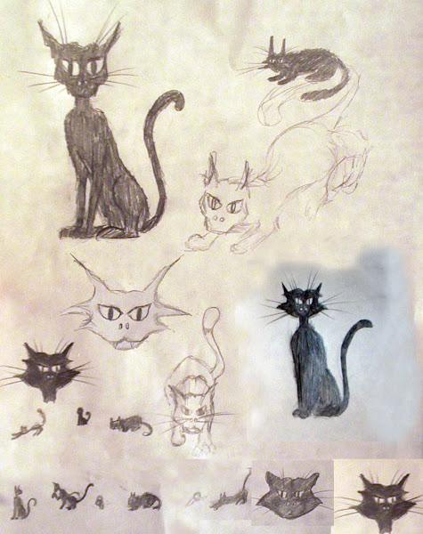 Bocetos de gatos para Tazas esmaltadas
