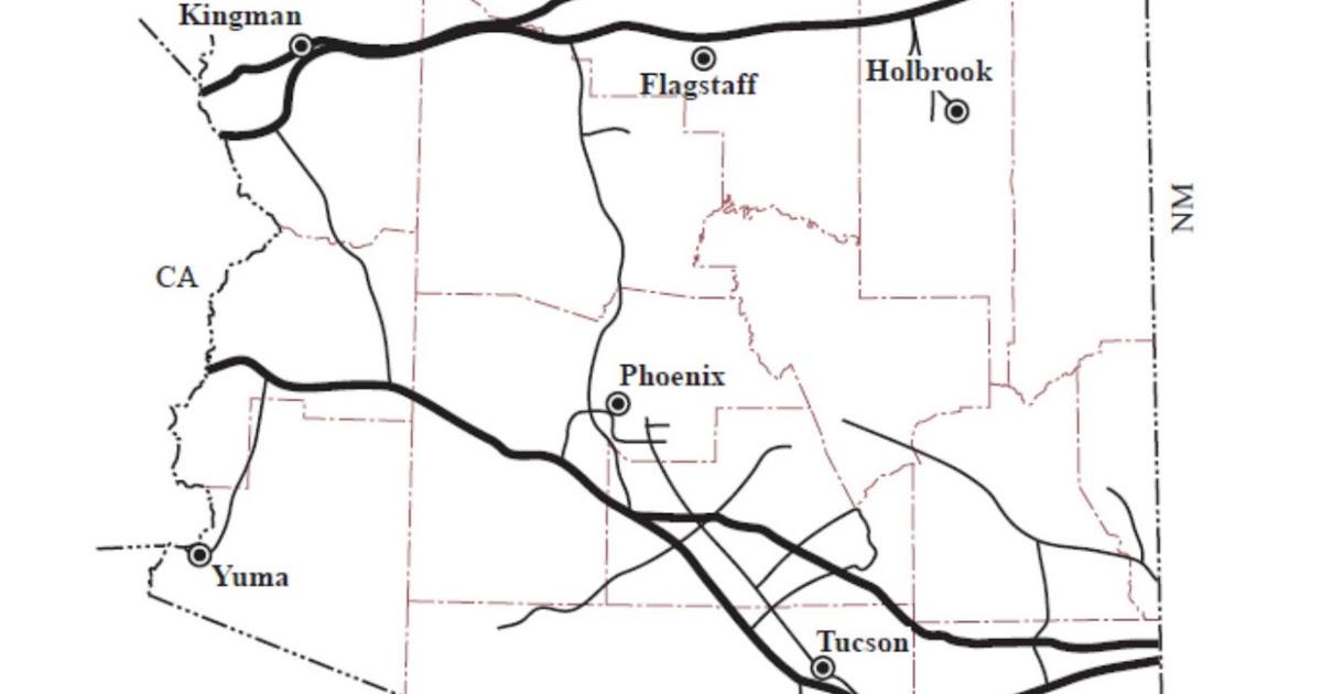 Arizona Geology: Natural gas pipelines in Arizona