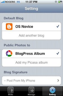 Posting to blogspot with iPhone