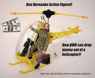 [Image of Ben Bernanke Action Figure and included Helicopter]