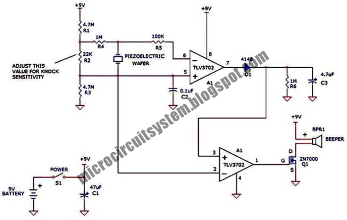 simple knock alarm circuit diagram