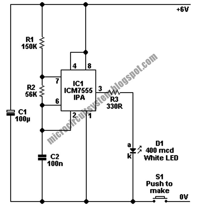 LED Torch Circuit Using 7555 IPA IC\u0027s - Circuit Diagram