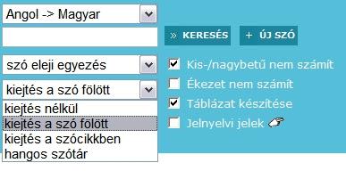szótár opciót)