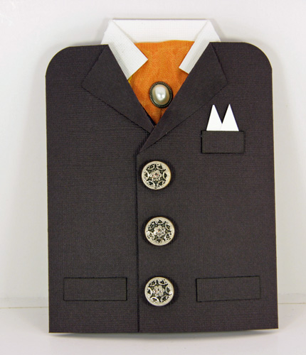 22efc389 Her kommer et jakke/skjorte kort. Denne gangen har jeg laget den i brunt,  blått og orange.
