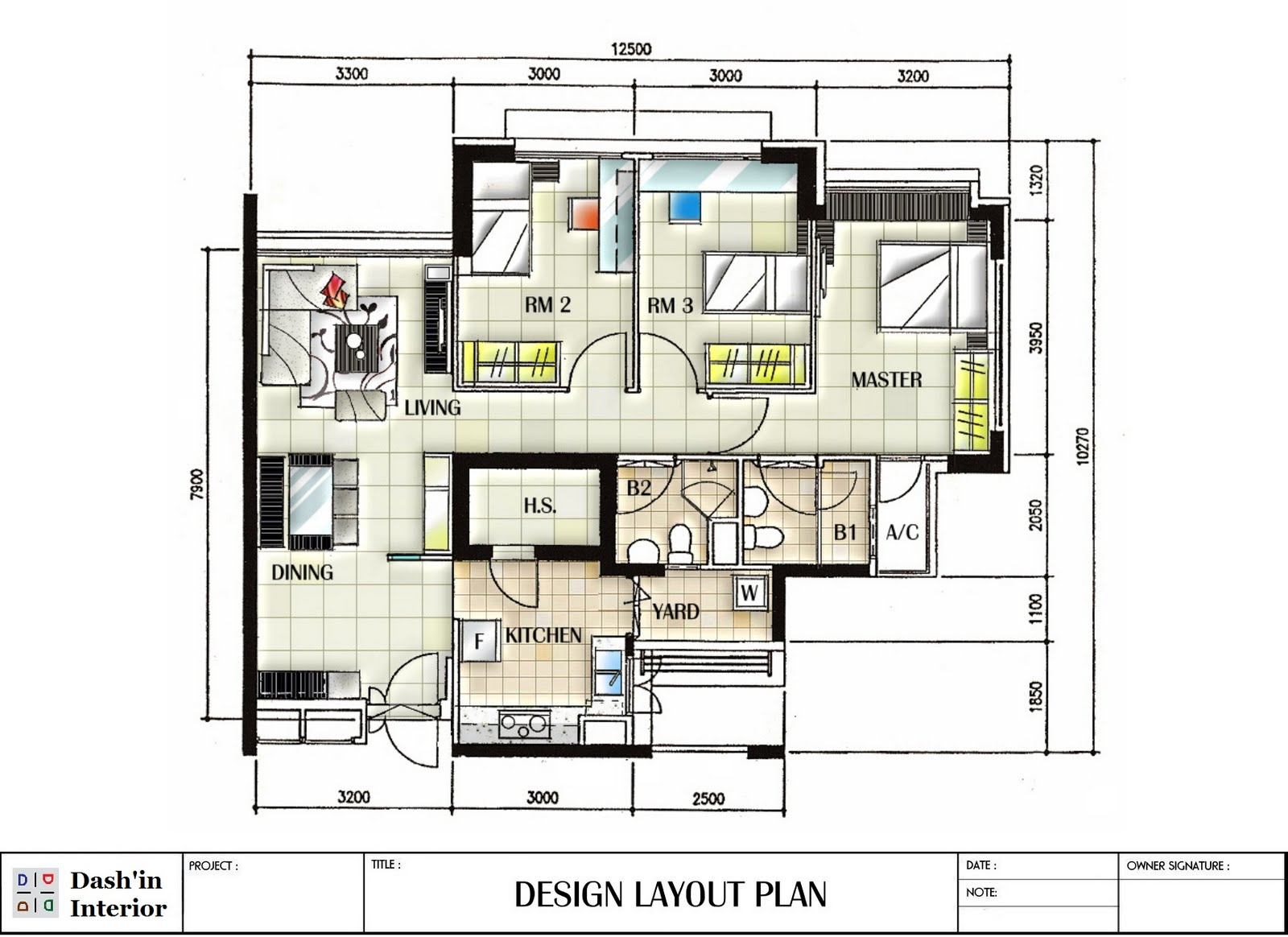 Hand drawn designs floor plan layout