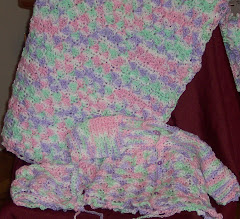 Sherbert Shells Sweater, Bonnet & Afghan Set