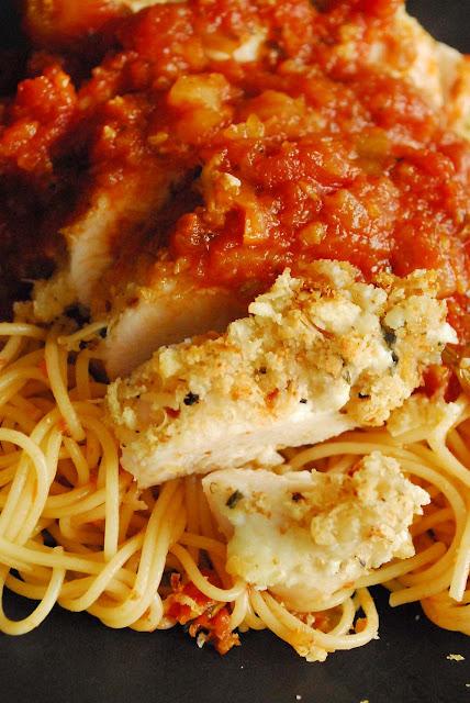 Ricotta Parmesan Chicken over Spaghetti