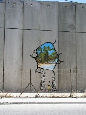Bansky en el muro de Cisjordania