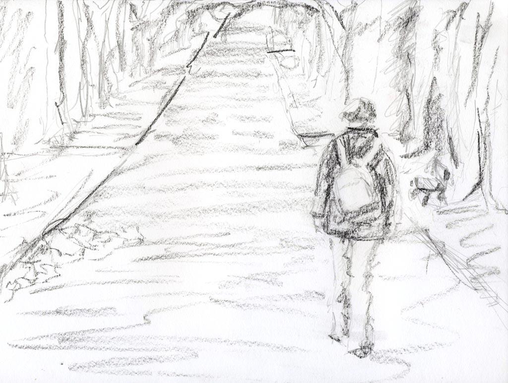 Walk alone 45 charcoal pencil