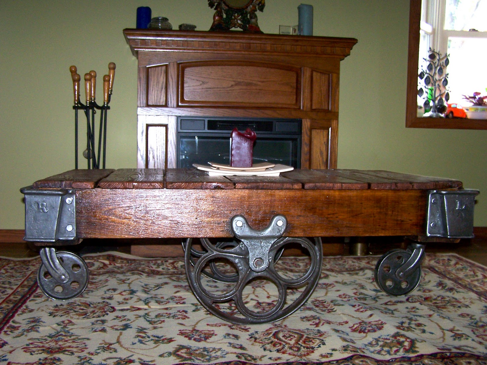 Antique Factory Cart Coffee Table 101001