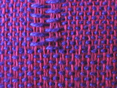 Close-up to show where plain weave fits into the weave structure.