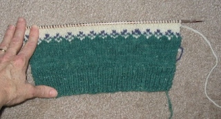 Rare Breed Sweater front, ready to start on the sheep feet.