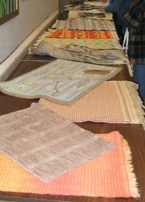 Show & Tell rugs at the Western North Carolina Fibers/Handweavers Guild meeting.
